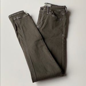 Topshop Moto Jamie Skinny Olive Green Jeans